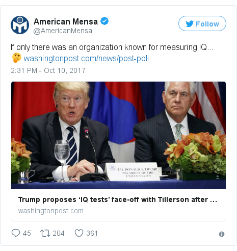 Twitter post by @AmericanMensa: If only there was an organization known for measuring IQ... 🤔 https //t.co/xbOKnW63ta