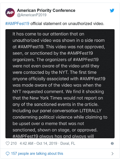 Twitter post by @AmericanP2019: #AMPFest19 official statement on unauthorized video.