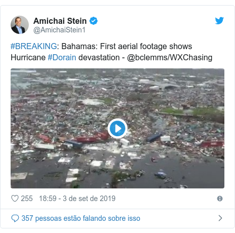 Twitter post de @AmichaiStein1: #BREAKING  Bahamas  First aerial footage shows Hurricane #Dorain devastation - @bclemms/WXChasing