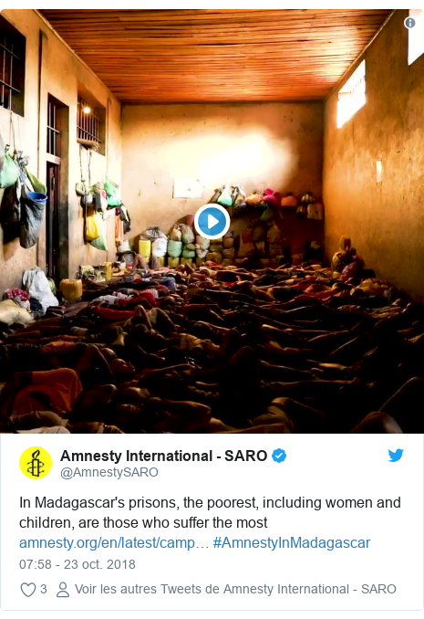 Twitter publication par @AmnestySARO: In Madagascar's prisons, the poorest, including women and children, are those who suffer the most  #AmnestyInMadagascar