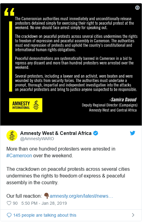 Twitter post by @AmnestyWARO: More than one hundred protesters were arrested in #Cameroon over the weekend. The crackdown on peaceful protests across several cities undermines the rights to freedom of express & peaceful assembly in the country. Our full reaction  👇🏿
