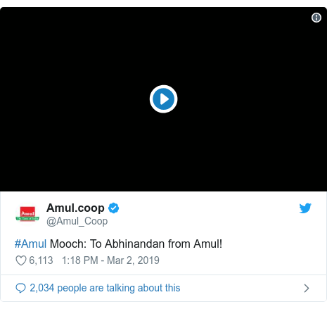 Twitter post by @Amul_Coop: #Amul Mooch  To Abhinandan from Amul!