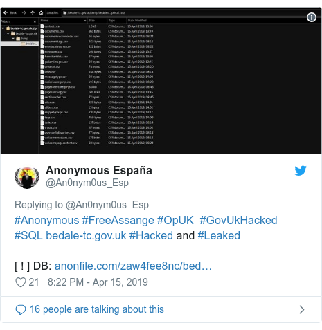 Twitter post by @An0nym0us_Esp: #Anonymous #FreeAssange #OpUK  #GovUkHacked #SQL  #Hacked and #Leaked [ ! ] DB