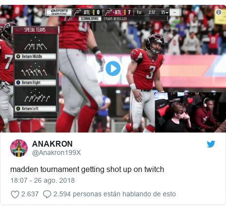 Publicación de Twitter por @Anakron199X: madden tournament getting shot up on twitch