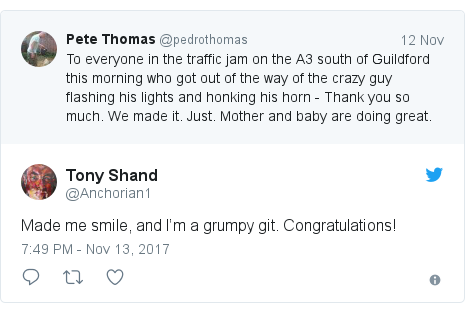 Twitter post by @Anchorian1: Made me smile, and I'm a grumpy git. Congratulations!