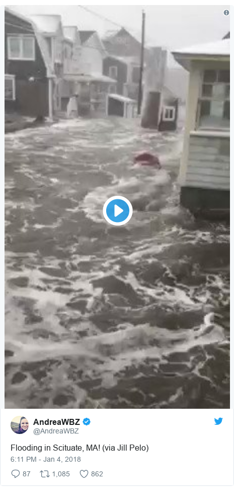 Twitter post by @AndreaWBZ: Flooding in Scituate, MA! (via Jill Pelo)