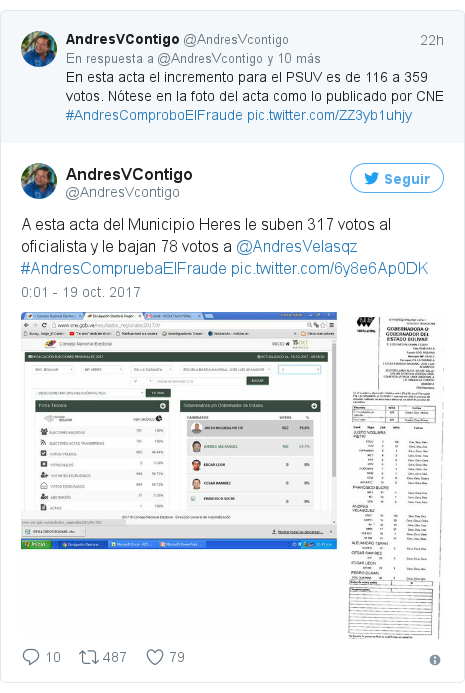 Publicación de Twitter por @AndresVcontigo: A esta acta del Municipio Heres le suben 317 votos al oficialista y le bajan 78 votos a @AndresVelasqz #AndresCompruebaElFraude