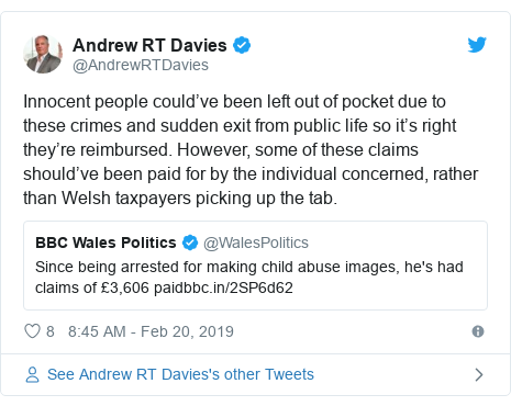 Twitter post by @AndrewRTDavies: Innocent people could've been left out of pocket due to these crimes and sudden exit from public life so it's right they're reimbursed. However, some of these claims should've been paid for by the individual concerned, rather than Welsh taxpayers picking up the tab.