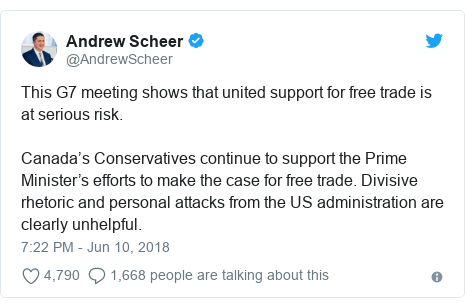 Twitter post by @AndrewScheer: This G7 meeting shows that united support for free trade is at serious risk. Canada's Conservatives continue to support the Prime Minister's efforts to make the case for free trade. Divisive rhetoric and personal attacks from the US administration are clearly unhelpful.