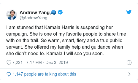Twitter post by @AndrewYang: I am stunned that Kamala Harris is suspending her campaign. She is one of my favorite people to share time with on the trail. So warm, smart, fiery and a true public servant. She offered my family help and guidance when she didn't need to. Kamala I will see you soon.