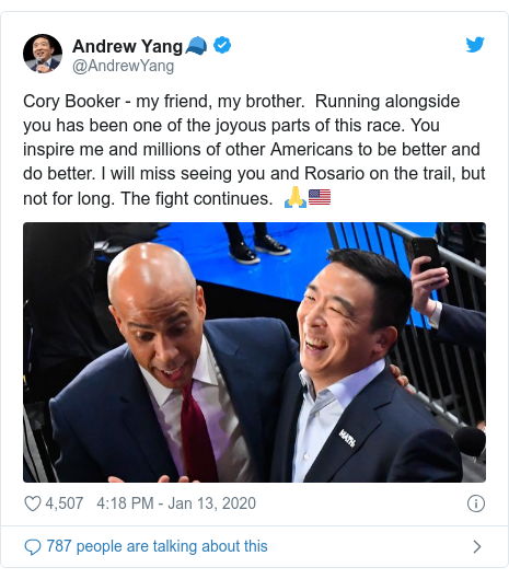 Twitter post by @AndrewYang: Cory Booker - my friend, my brother.  Running alongside you has been one of the joyous parts of this race. You inspire me and millions of other Americans to be better and do better. I will miss seeing you and Rosario on the trail, but not for long. The fight continues.  🙏🇺🇸