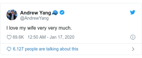 Twitter post by @AndrewYang: I love my wife very very much.
