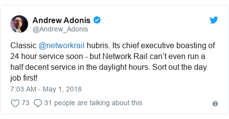 Twitter post by @Andrew_Adonis: Classic @networkrail hubris. Its chief executive boasting of 24 hour service soon - but Network Rail can't even run a half decent service in the daylight hours. Sort out the day job first!