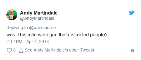 Twitter post by @AndyMartindale: was it his mile wide grin that distracted people?