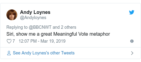 Twitter post by @Andyloynes: Siri, show me a great Meaningful Vote metaphor