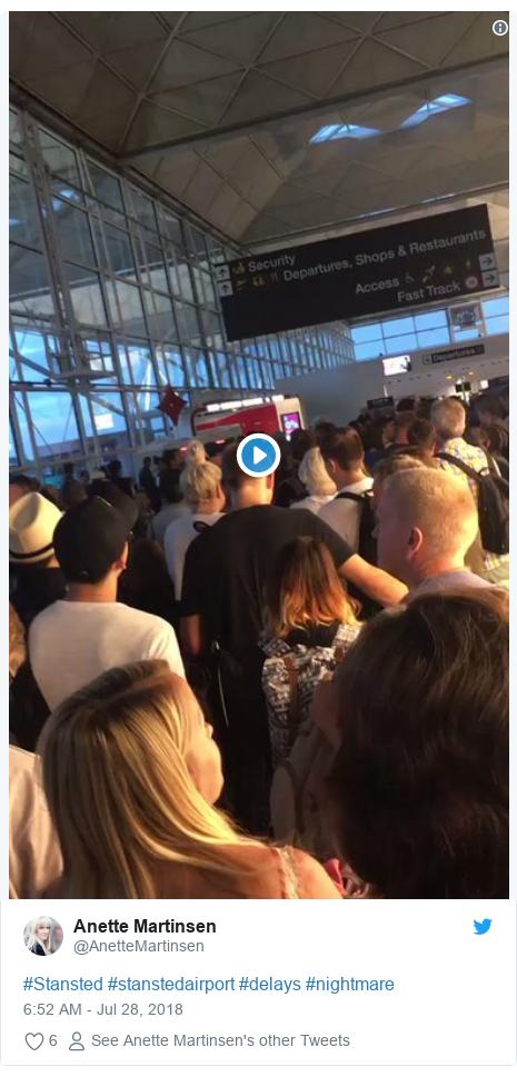 Twitter post by @AnetteMartinsen: #Stansted #stanstedairport #delays #nightmare