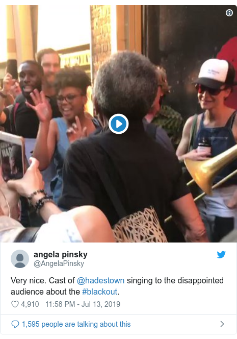 Twitter post by @AngelaPinsky: Very nice. Cast of @hadestown singing to the disappointed audience about the #blackout.