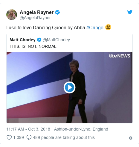 Twitter post by @AngelaRayner: I use to love Dancing Queen by Abba #Cringe 😩