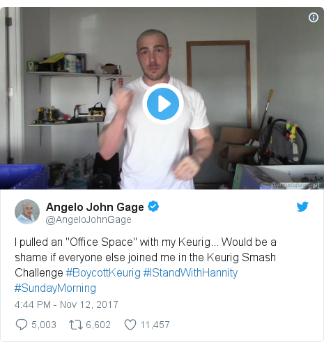 """Twitter post by @AngeloJohnGage: I pulled an """"Office Space"""" with my Keurig... Would be a shame if everyone else joined me in the Keurig Smash Challenge #BoycottKeurig #IStandWithHannity #SundayMorning"""