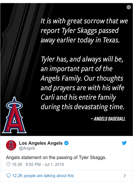 Twitter post by @Angels: Angels statement on the passing of Tyler Skaggs.