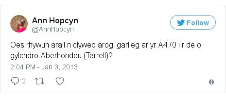 Neges Twitter gan @AnnHopcyn: Oes rhywun arall n clywed arogl garlleg ar yr A470 i'r de o gylchdro Aberhonddu (Tarrell)?