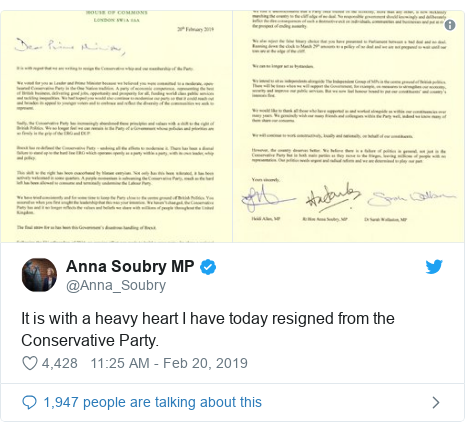 Twitter post by @Anna_Soubry: It is with a heavy heart I have today resigned from the Conservative Party.