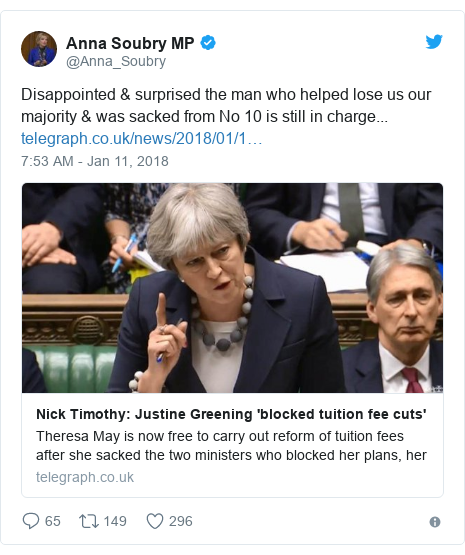 Twitter post by @Anna_Soubry: Disappointed & surprised the man who helped lose us our majority & was sacked from No 10 is still in charge...