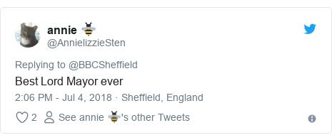 Twitter post by @AnnielizzieSten: Best Lord Mayor ever