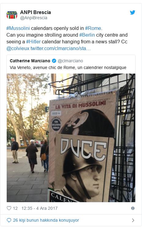 @AnpiBrescia tarafından yapılan Twitter paylaşımı: #Mussolini calendars openly sold in #Rome.Can you imagine strolling around #Berlin city centre and seeing a #Hitler calendar hanging from a news stall? Cc @colvieux