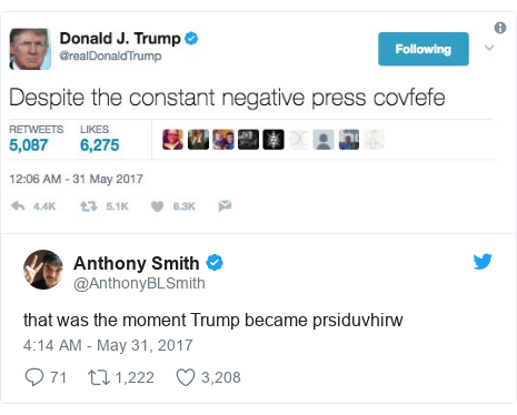Twitter post by @AnthonyBLSmith: that was the moment Trump became prsiduvhirw