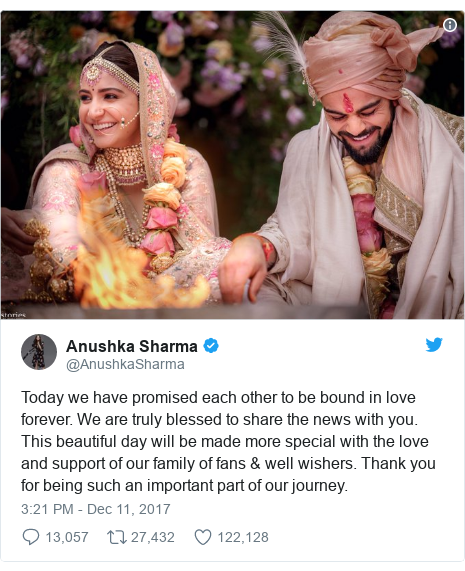Twitter post by @AnushkaSharma: Today we have promised each other to be bound in love forever. We are truly blessed to share the news with you. This beautiful day will be made more special with the love and support of our family of fans & well wishers. Thank you for being such an important part of our journey.