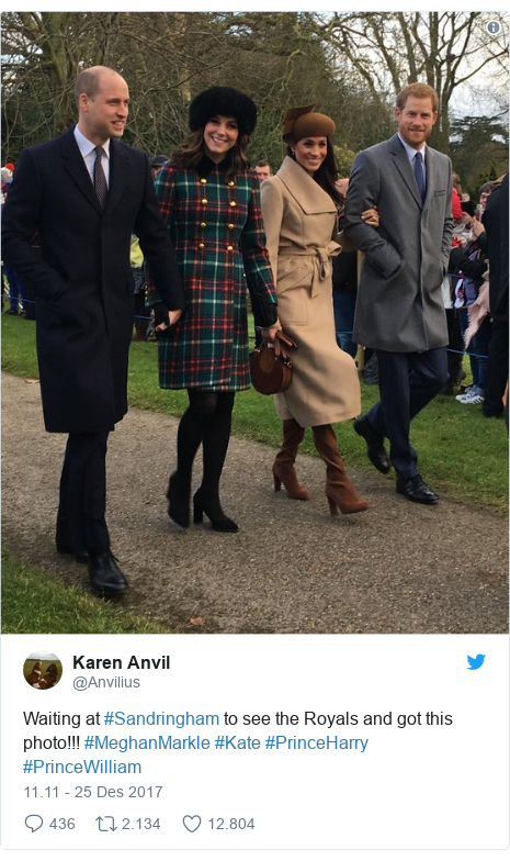 Twitter pesan oleh @Anvilius: Waiting at #Sandringham to see the Royals and got this photo!!! #MeghanMarkle #Kate #PrinceHarry #PrinceWilliam
