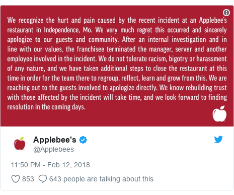 Twitter post by @Applebees:
