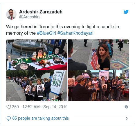 Twitter post by @Ardeshirz: We gathered in Toronto this evening to light a candle in memory of the #BlueGirl #SaharKhodayari