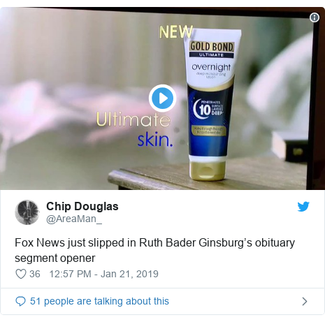 Twitter post by @AreaMan_: Fox News just slipped in Ruth Bader Ginsburg's obituary segment opener