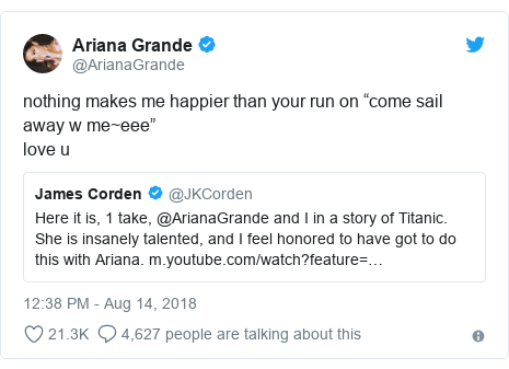 """Twitter post by @ArianaGrande: nothing makes me happier than your run on """"come sail away w me~eee""""love u"""