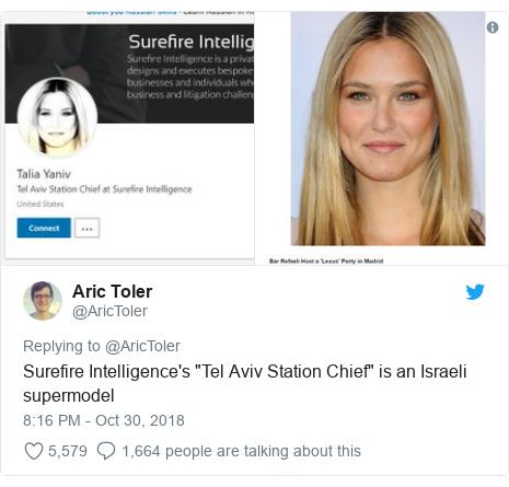 "Twitter post by @AricToler: Surefire Intelligence's ""Tel Aviv Station Chief"" is an Israeli supermodel"