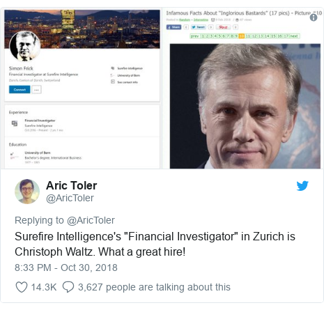 """Twitter post by @AricToler: Surefire Intelligence's """"Financial Investigator"""" in Zurich is Christoph Waltz. What a great hire!"""