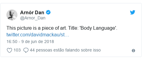Twitter post de @Arnor_Dan: This picture is a piece of art. Title  'Body Language'.