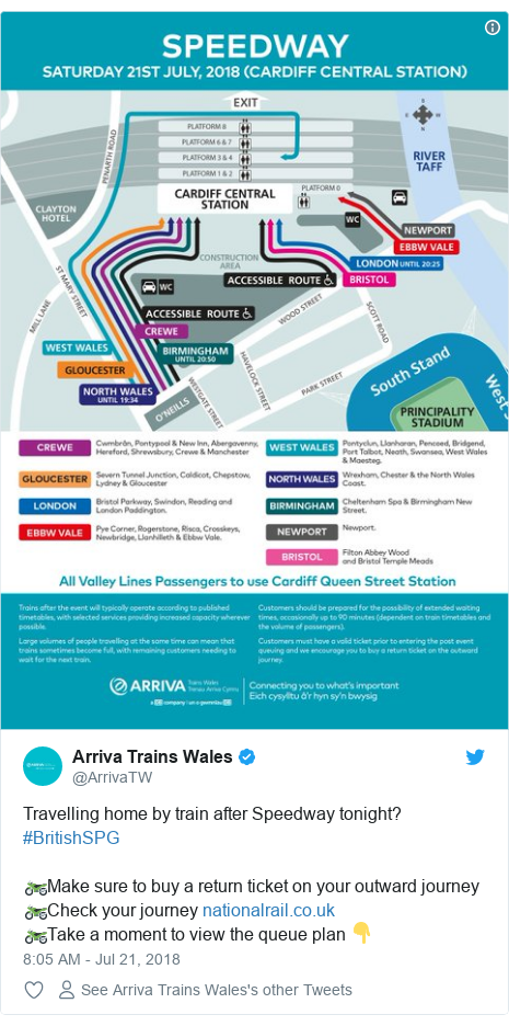 Twitter post by @ArrivaTW: Travelling home by train after Speedway tonight? #BritishSPG🏍Make sure to buy a return ticket on your outward journey 🏍Check your journey   🏍Take a moment to view the queue plan 👇
