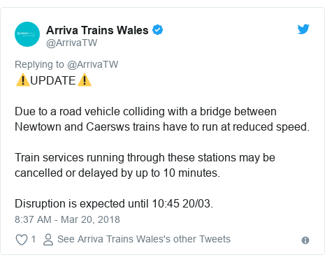 Twitter post by @ArrivaTW: ⚠️UPDATE⚠️Due to a road vehicle colliding with a bridge between Newtown and Caersws trains have to run at reduced speed.Train services running through these stations may be cancelled or delayed by up to 10 minutes.Disruption is expected until 10 45 20/03.