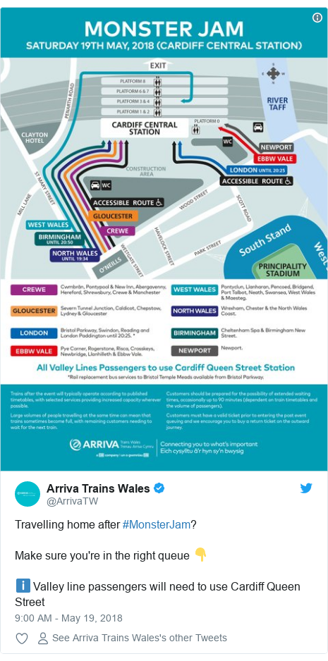 Twitter post by @ArrivaTW: Travelling home after #MonsterJam?Make sure you're in the right queue 👇ℹ️ Valley line passengers will need to use Cardiff Queen Street