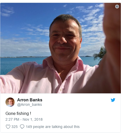 Twitter post by @Arron_banks: Gone fishing !