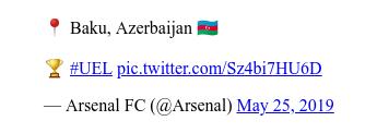 @Arsenal tərəfindən edilən Twitter paylaşımı: 📍 Baku, Azerbaijan 🇦🇿🏆 #UEL