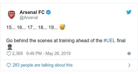 @Arsenal tərəfindən edilən Twitter paylaşımı: 15... 16... 17... 18... 19... 😅Go behind the scenes at training ahead of the #UEL final 🕵️