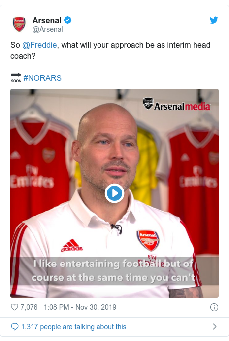 Twitter post by @Arsenal: So @Freddie, what will your approach be as interim head coach?🔜 #NORARS