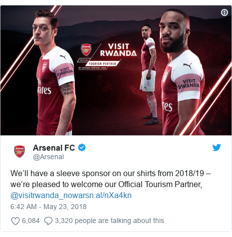 Twitter ubutumwa bwa @Arsenal: We'll have a sleeve sponsor on our shirts from 2018/19 – we're pleased to welcome our Official Tourism Partner, @visitrwanda_now