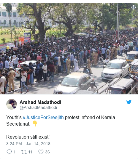 Twitter post by @ArshadMadathodi: Youth's #JusticeForSreejith protest infrond of Kerala Secretariat. 👇Revolution still exist!