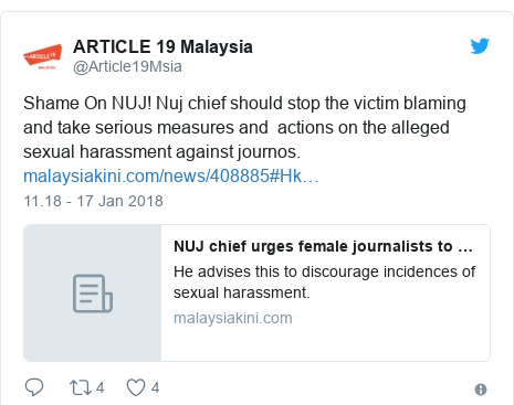 Twitter pesan oleh @Article19Msia: Shame On NUJ! Nuj chief should stop the victim blaming and take serious measures and  actions on the alleged sexual harassment against journos.