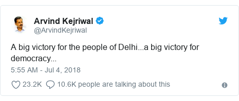 Twitter post by @ArvindKejriwal: A big victory for the people of Delhi...a big victory for democracy...